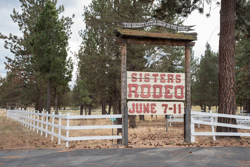 Entry sign for the annual Sisters Rodeo in Sister OR. photo