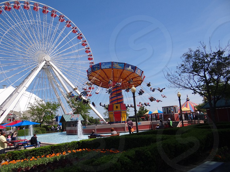 Chicago Navy Pier attraction ride tour tourists vacation trip carnival fair permanent water fountain tourist trap destination travel things to do urban city  photo