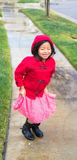 Playing in the rain  photo