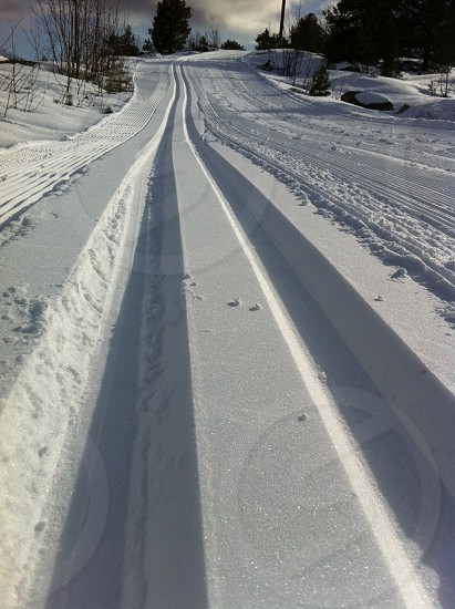 road filled of snow photo