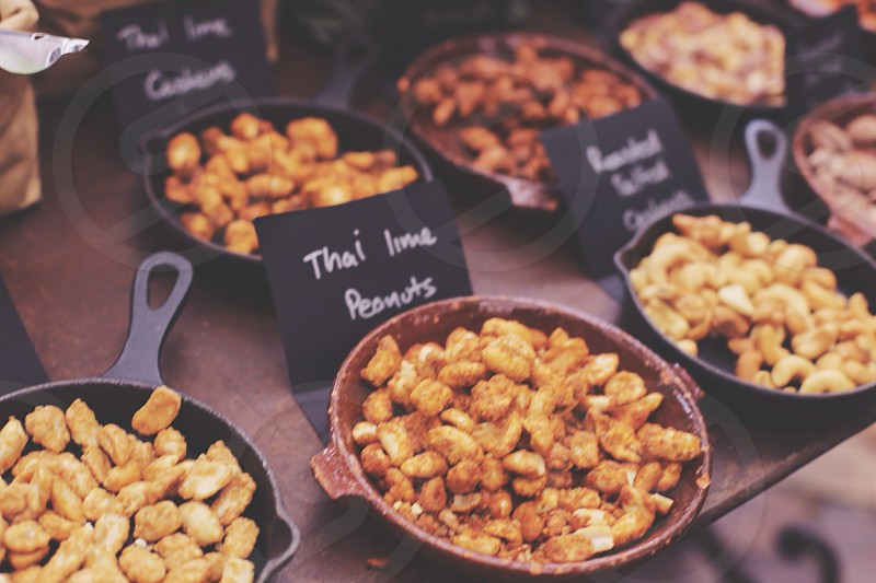 brown thai lime peanuts on pot  photo