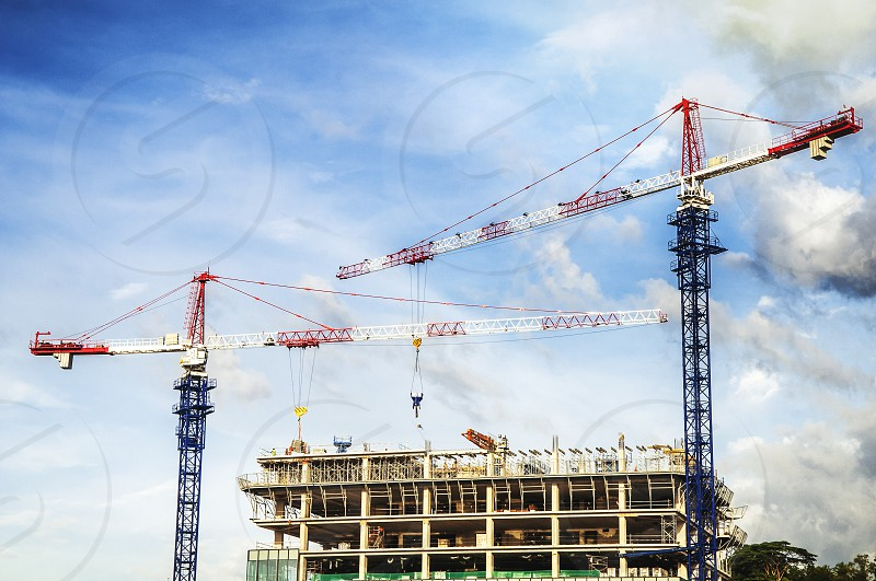 Building construction with cranes photo