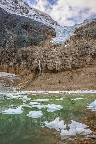Melting Angel Glacier on Mount Edith Cavell in Jasper National Park. Alberta. Canada photo