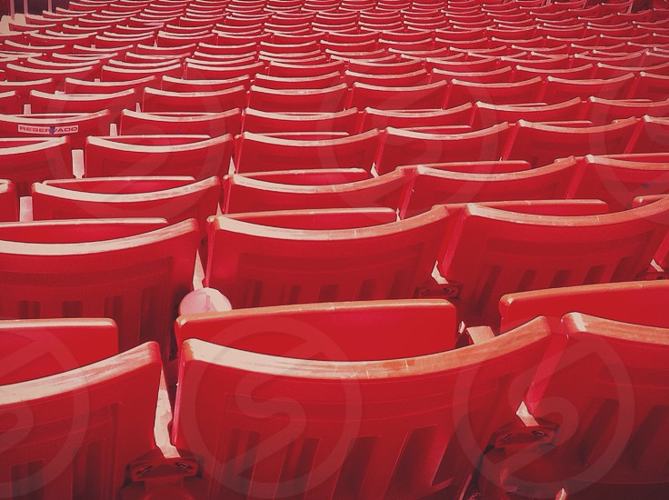 red stadium bleachers photo