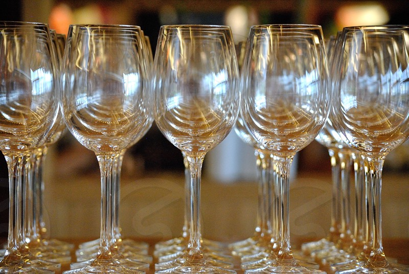 empty champagne glasses on table photo