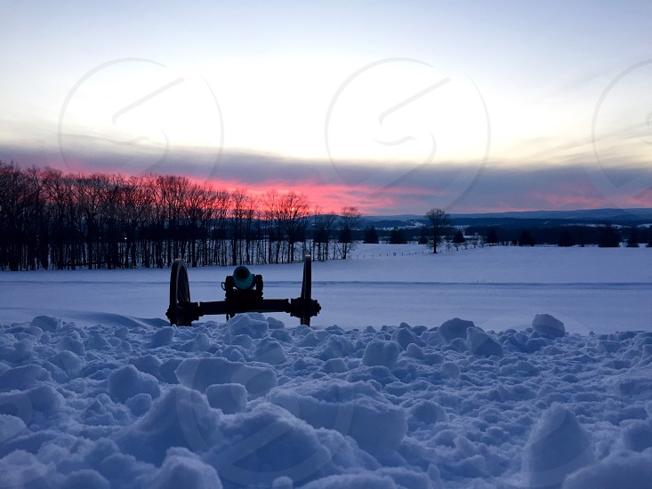 Gettysburg Pennsylvania blizzard Jonas 2016 snow sunset Sky battlefield  photo