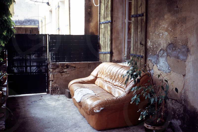 brown padded leather couch photo