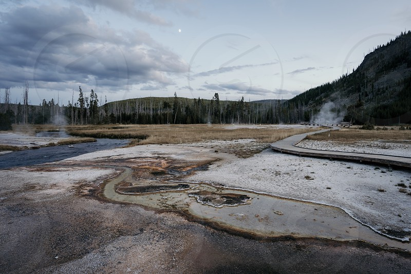 Yellowstone National Park geysers geothermal hot springs travel color photo