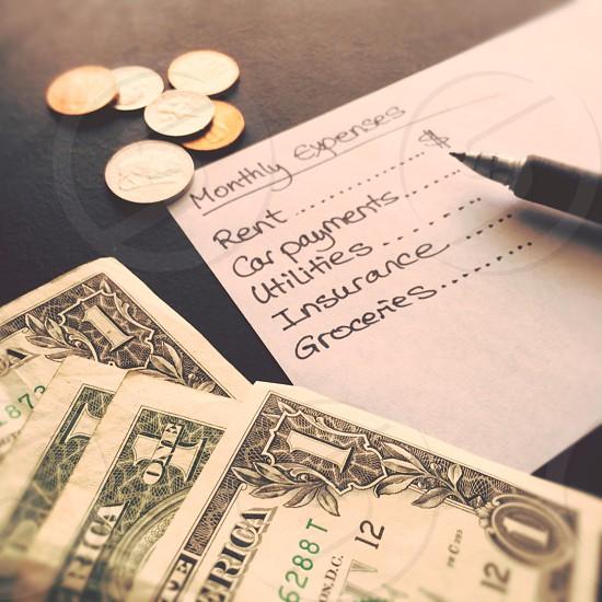 money dollar bills finances bank money management savings coins  photo
