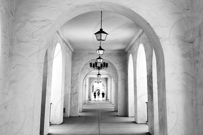 arches archway stucco silhouettes black and white photo