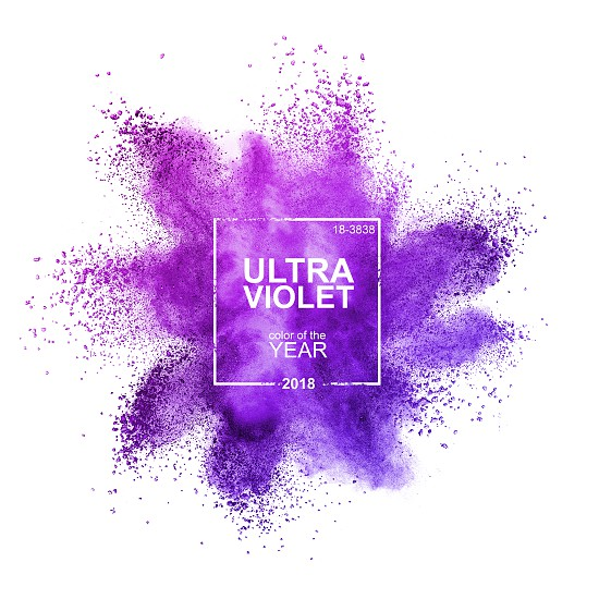 Ultraviolet powder on a white background. A dramatically provocative and thoughtful purple shade PANTONE 18-3838 Ultra Violet. Color of the Year 2018 Pantone photo