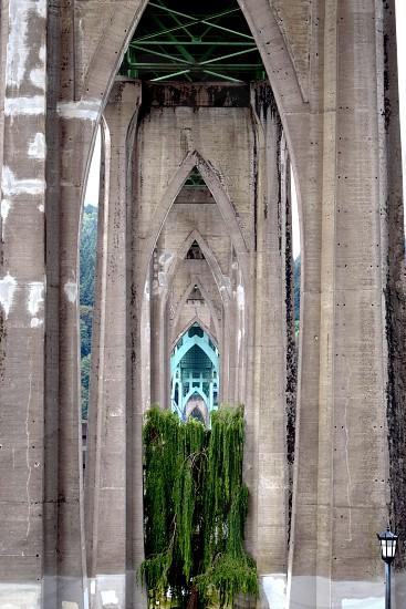 view of the underside of St. John Bridge Portland Oregon photo