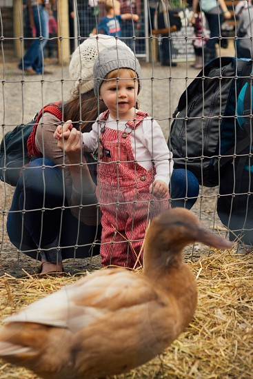 child in pink jumpsuit looking at a brown duck photo