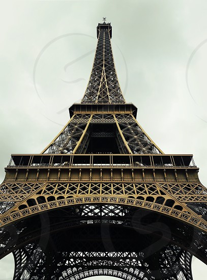 Close up of the Eiffel Tower in Paris France. photo