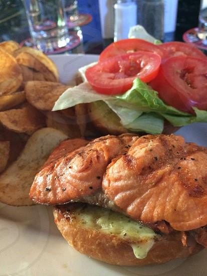 Food salmon burger photo