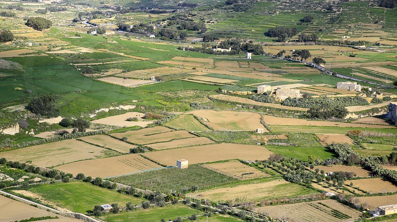 The green island of Gozo view from the walls of the ancient Citadel photo