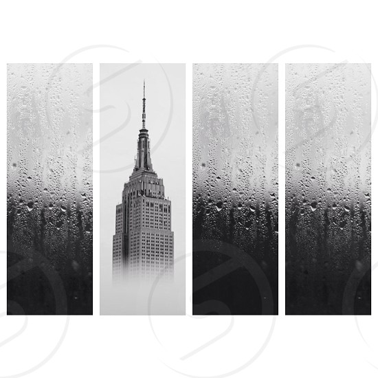 grey empire state building picture  photo