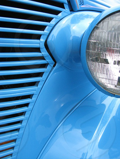 Truck old classic car blue light headlight photo