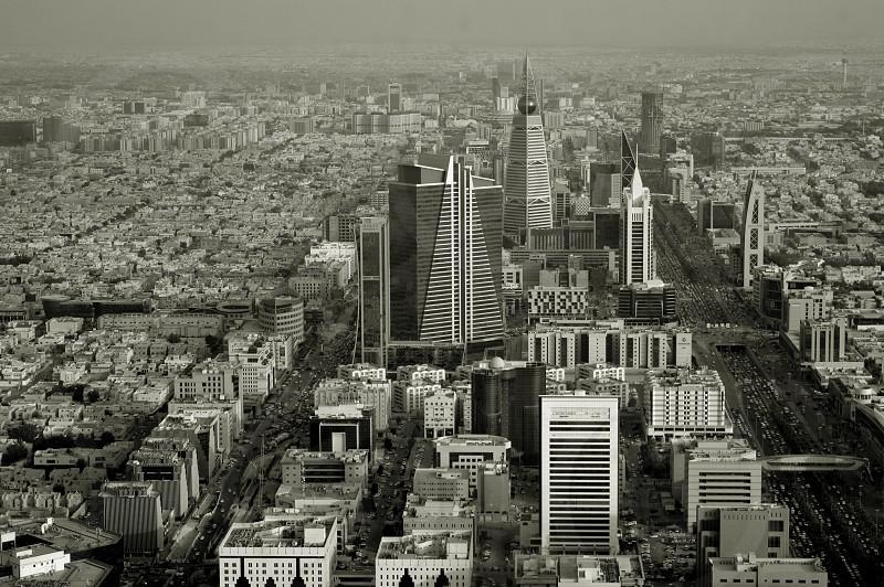 Black and white photo. Saudi Arabia. Riyadh or Riad. The view from the top. City panorama photo