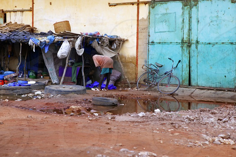Africa Senegal street scene on humble city corner photo