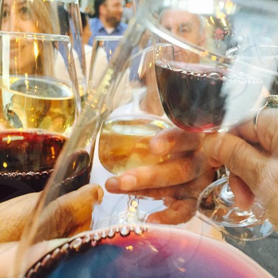 having a toast at a Parisian terrace photo