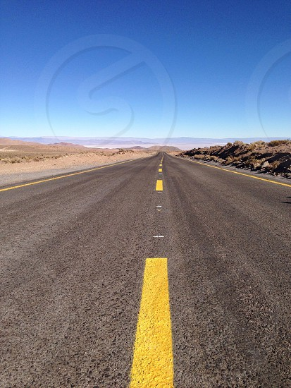 Open road in the Atacama desert in northern chile.  photo