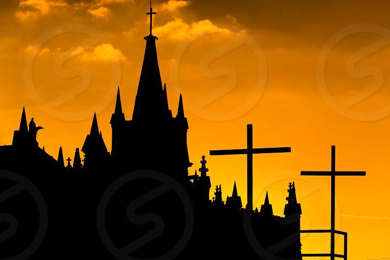 church silhouette photo