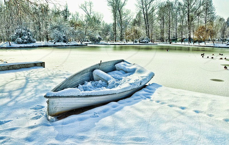 boat on snow field near body of water during daytime photo