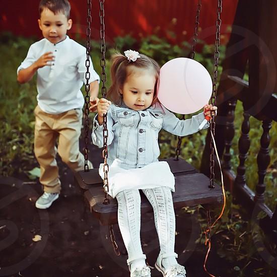 children swing photo