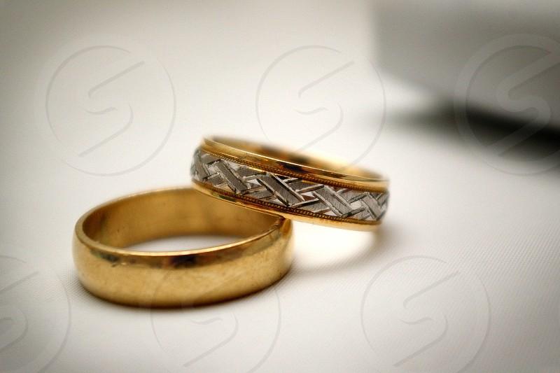 golden silver wedding bands photo