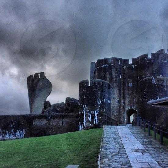 path to a black castle rock  photo