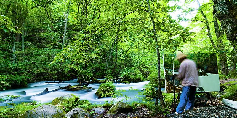 river japan nature painter flow photo
