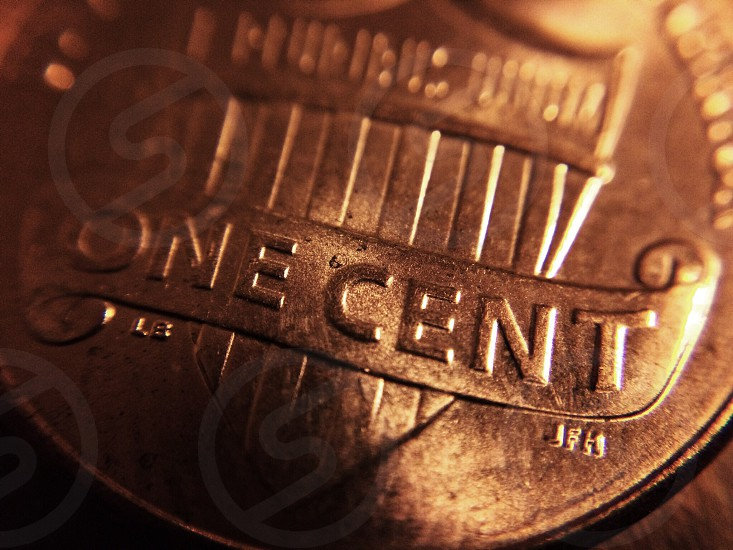 Money pennies penny coins copper currency United States  photo