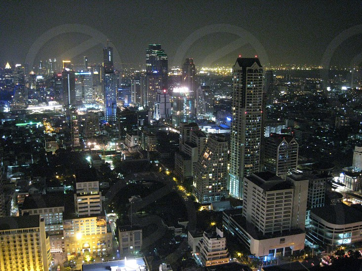 Bangkok skyline at night photo