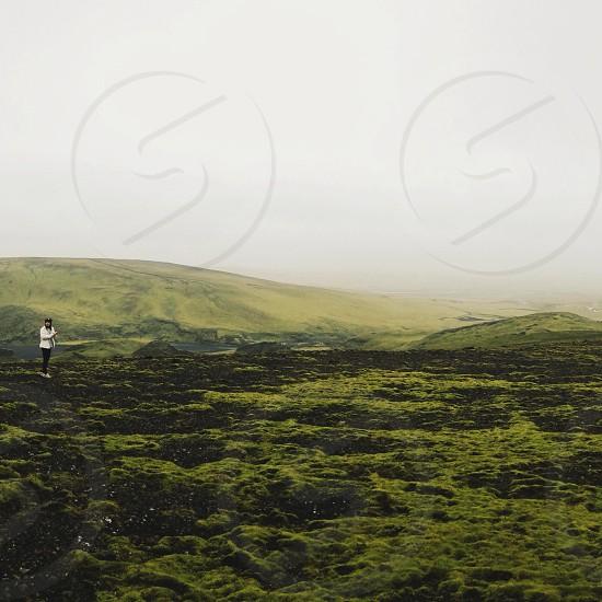 green mountainous field photo