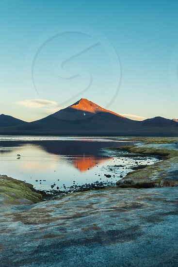 Sunset at Laguna Colorada Bolivia photo