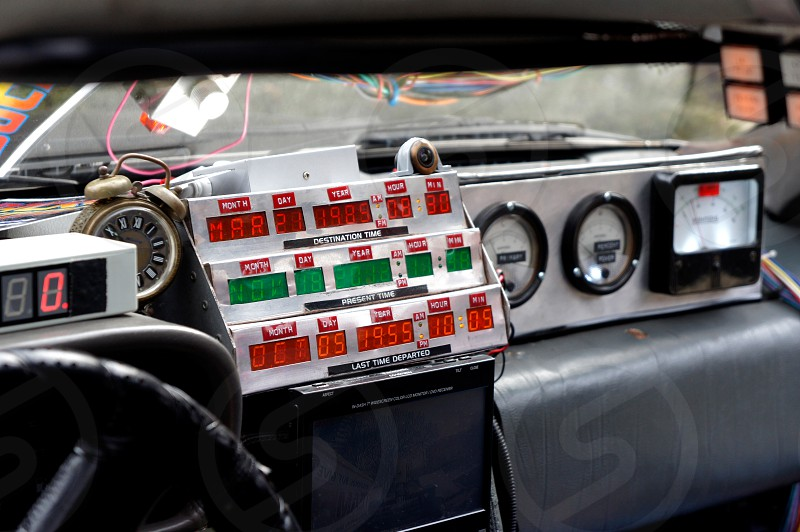 Dashboard of the interior of the DeLorean Time Machine from the Back to the Future movies photo