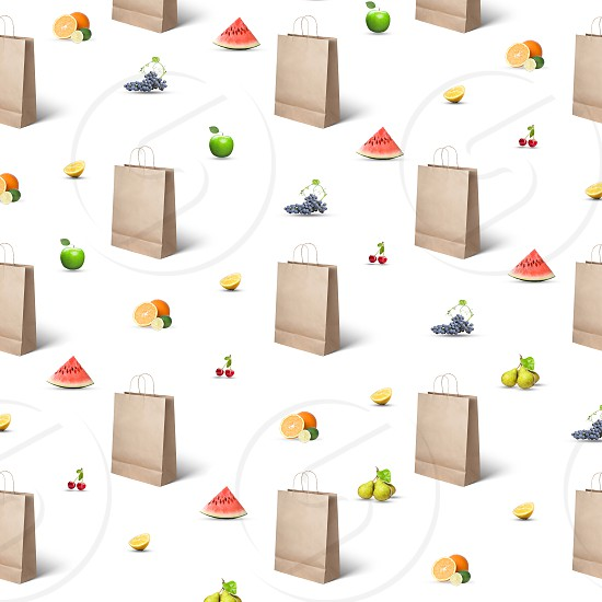 pattern of paper bags and various fruits and berries on a white background photo