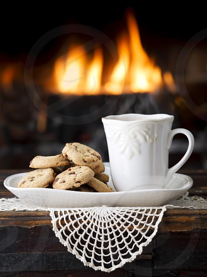 Cookies and Tea by a Fireplace photo