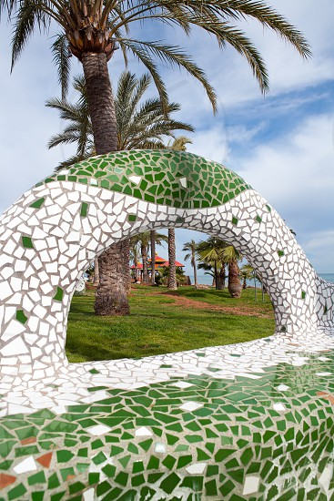 Oropesa del Mar Castellon gardens in the beach with tiles mosaic bench Spain photo