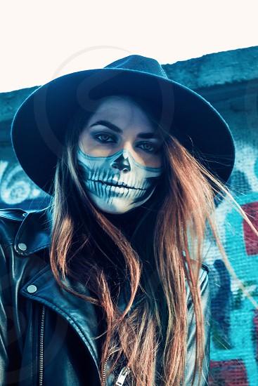 Portrait makeup make up girl skeleton hot professional beauty photo