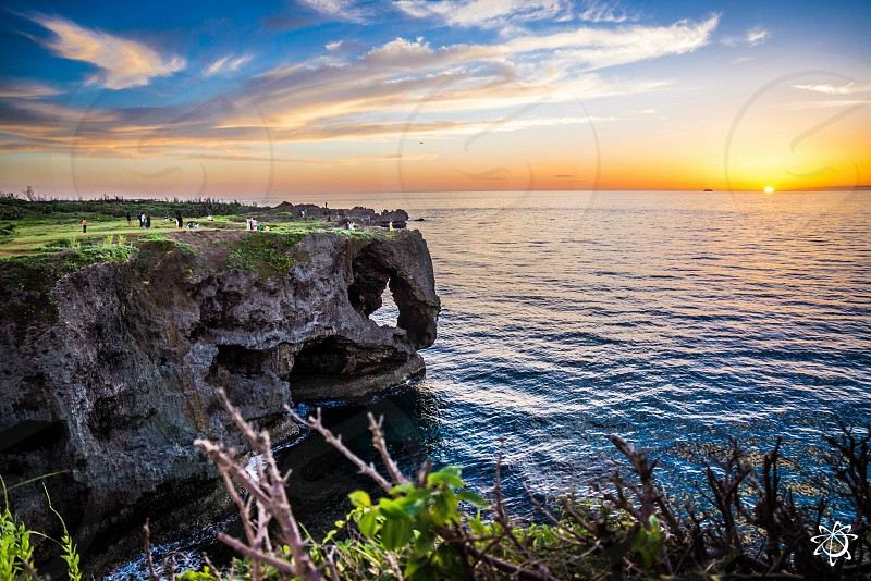 Okinawa Japan sunset ocean island photo