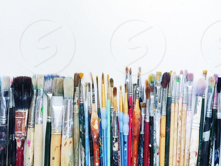 Paints bristles brushes painting art create inspire artistic tools minimalism minimalist white abstract simplicity photo