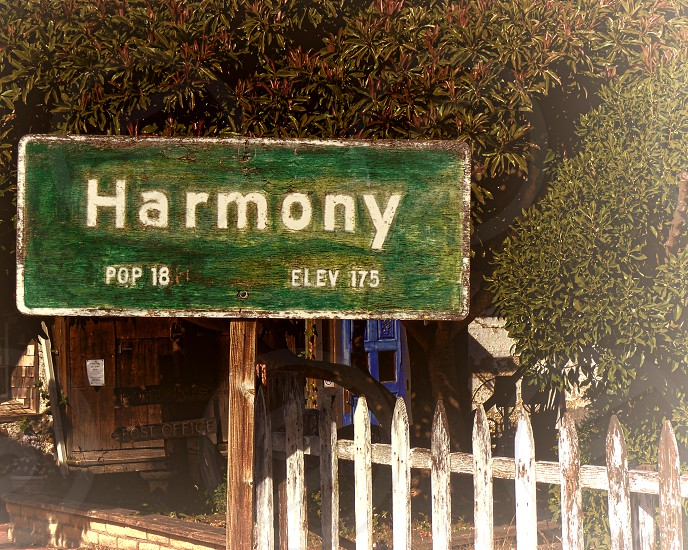 Sign for the town of Harmony photo
