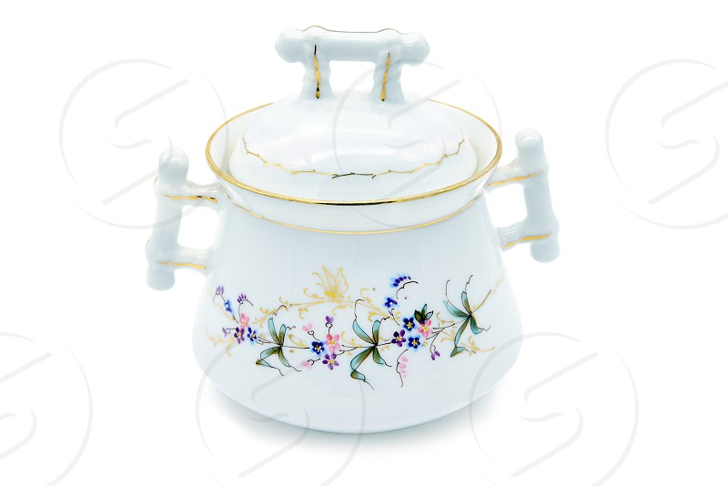 Antique Biedermeier Porcelain sugar box with flower and butterfly ornaments. photo