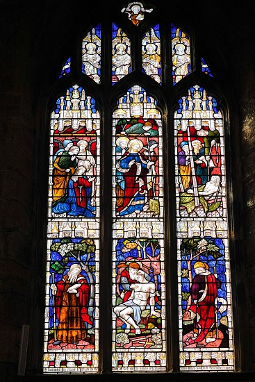 EAST GRINSTEAD  WEST SUSSEX/UK - AUGUST 18 :  Stained glass window in St Swithun's Church  East Grinstead West Sussex on August 18 2018 photo