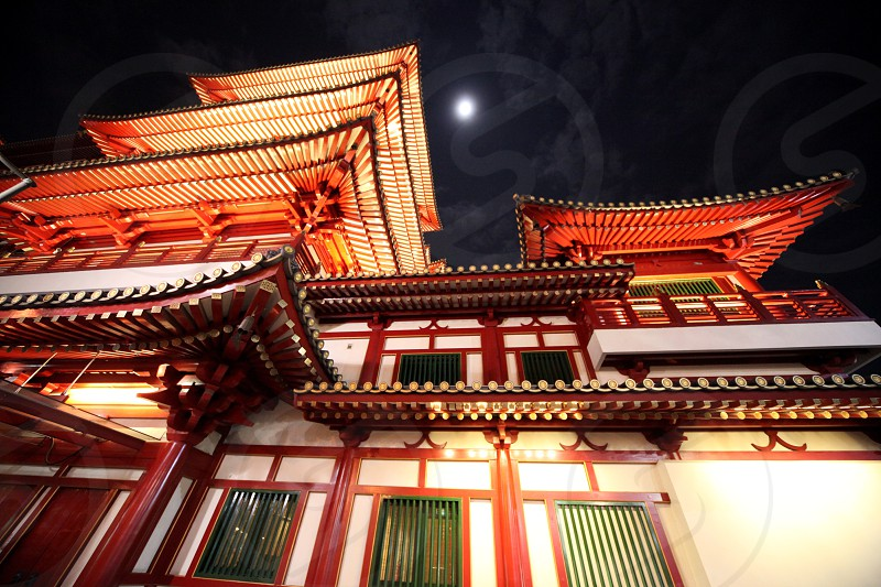a traditional chinese Temple in china town in the city of Singapore in Southeastasia. photo