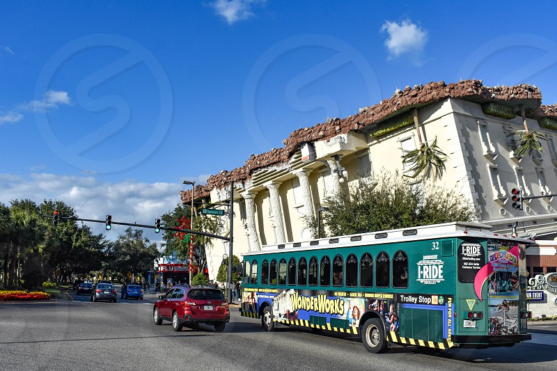 Orlando Florida. January 19  2019 Wonderwork building and green trolley in International Drive area . photo