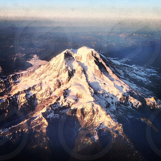Aerial view of Mt. Rainier as we take-off from SEA.  photo