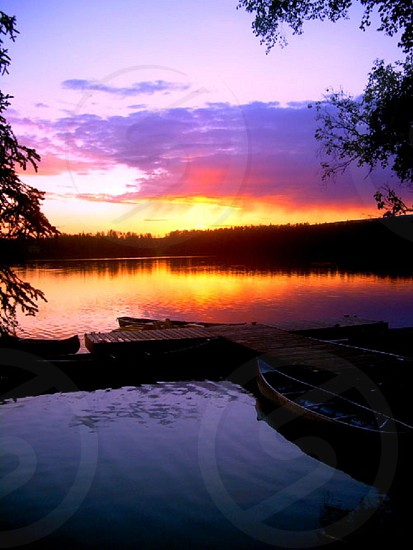 Alaska summer sun set midnight sun colors shadows lake dock boat nature photo
